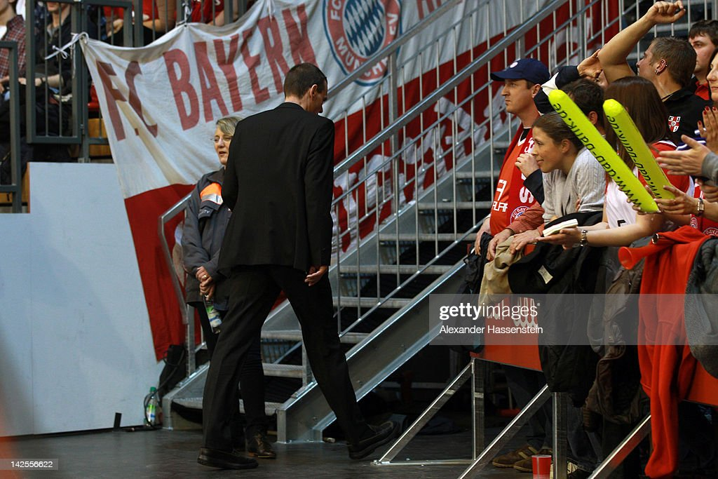 Michael Koch head coach of Bonn must leave the field of play after referee decision during the Beko Basketball match between FC Bayern Muenchen and...