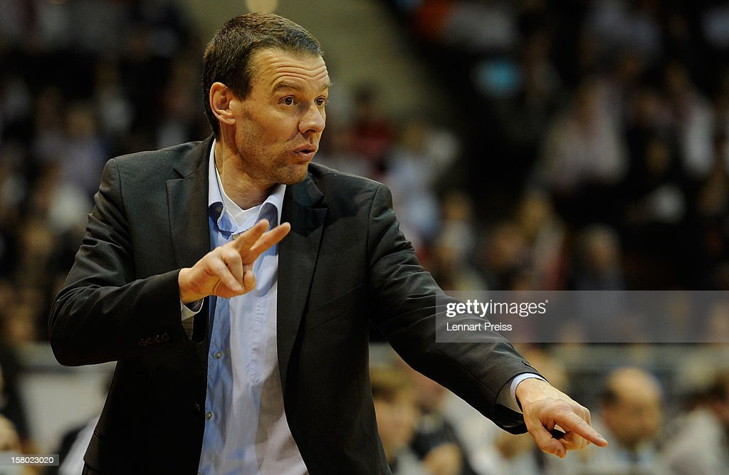 <a gi-track='captionPersonalityLinkClicked' href=/galleries/search?phrase=Michael+Koch&family=editorial&specificpeople=642885 ng-click='$event.stopPropagation()'>Michael Koch</a>, head coach of Bonn reacts during the Beko Basketball match between FC Bayern Muenchen and Telekom Baskets Bonn at Audi-Dome on December 9, 2012 in Munich, Germany.