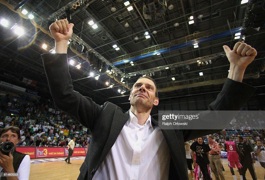 Michael Koch head coach of Bonn shows his delight after the fifth Basketball Bundesliga best of five playoff semifinal match between Deutsche Bank...