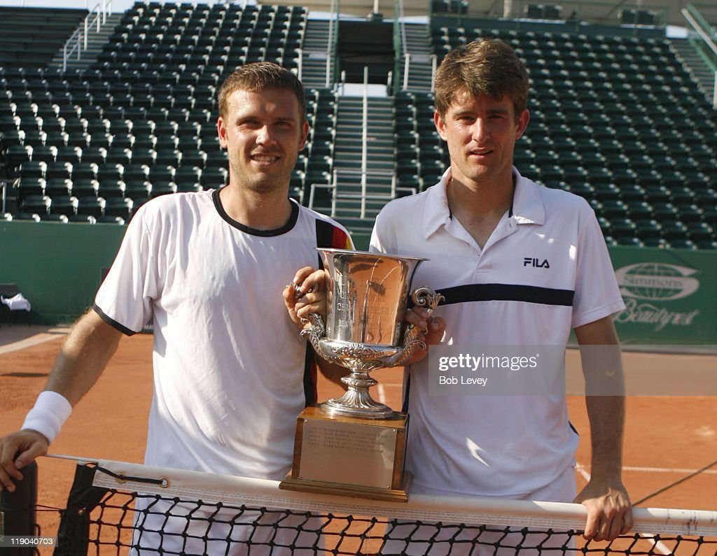 Michael Kohlman/Alexander Waske pose with the trophy after defeating <a gi-track='captionPersonalityLinkClicked' href=/galleries/search?phrase=Jurgen+Melzer&family=editorial&specificpeople=200702 ng-click='$event.stopPropagation()'>Jurgen Melzer</a>/Julian Knowle 5-7,6-4,10-5 to win the doubles division of the U.S. Mens Clay Courts Championships, April 16, 206 at Westside Tennis Club in Houston, Texas.