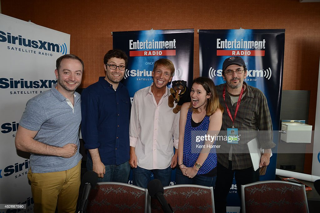 Michael Koman, Jack McBrayer and Robert Smigel pose with radio hosts Mario Correa and Julia Cunningham after being interviewed on SiriusXM's Entertainment Weekly Radio channel from Comic-Con 2014 at The Hard Rock Hotel on July 25, 2014 in San Diego, California.