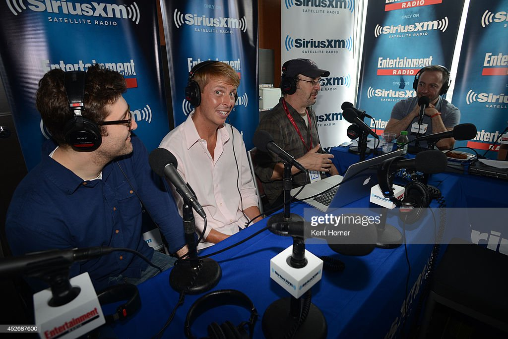 Michael Koman, Jack McBrayer and Robert Smigel with radio hosts Mario Correa are interviewed on SiriusXM's Entertainment Weekly Radio channel from Comic-Con 2014 at The Hard Rock Hotel on July 25, 2014 in San Diego, California.