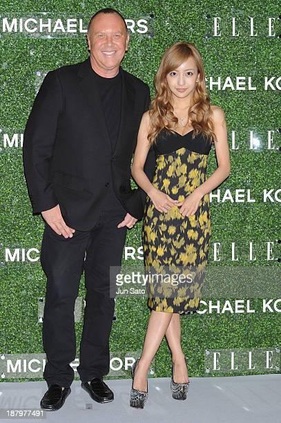 Michael Kors and Tomomi Itano attend 'Michael Kors and Miranda Kerr Celebrate Elle Japon December Cover' party at the Gallery of Horyuji Treasures of...