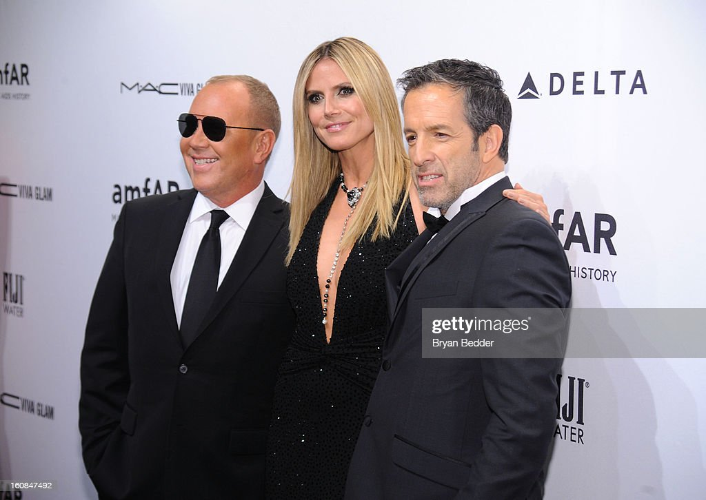 Michael Kors, <a gi-track='captionPersonalityLinkClicked' href=/galleries/search?phrase=Heidi+Klum&family=editorial&specificpeople=178954 ng-click='$event.stopPropagation()'>Heidi Klum</a> and Kenneth Cole attend the amfAR New York Gala to kick off Fall 2013 Fashion Week at Cipriani Wall Street on February 6, 2013 in New York City.