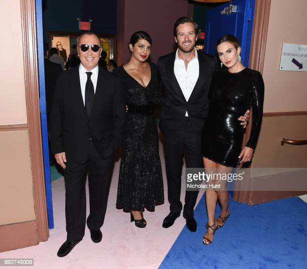 Michael Kors Priyanka Chopra Armie Hammer and Elizabeth Chambers attend the 2017 CFDA Fashion Awards Cocktail Hour at Hammerstein Ballroom on June 5...