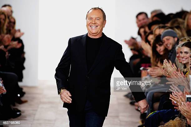 Michael Kors walks the runway at the Michael Kors fashion show during MercedesBenz Fashion Week Fall at Spring Studios on February 18 2015 in New...