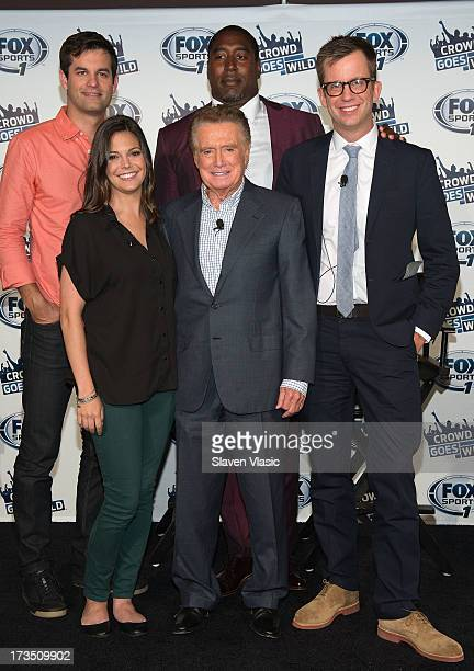 Michael Kosta Katie Nolan Regis Philbin Trevor Pryce and Jason Gay attend 'Crowd Goes Wld' press preview at Lounge 48 on July 15 2013 in New York City