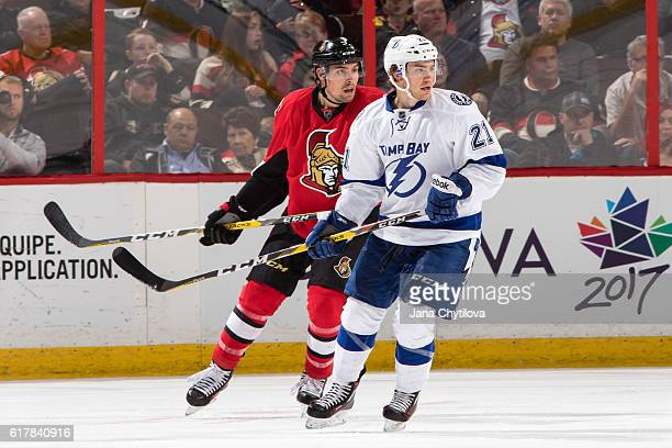 Michael Kostka of the Tampa Bay Lightning skates against Cody Ceci of the Ottawa Senators at Canadian Tire Centre on October 22 2016 in Ottawa...