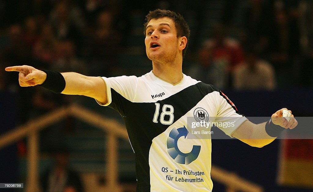 Michael Kraus of Germany gives instructions during the Men's Handball European Championship main round Group II match between Germany and France at Trondheim Spektrum on January 23, 2008 in Trondheim, Norway.