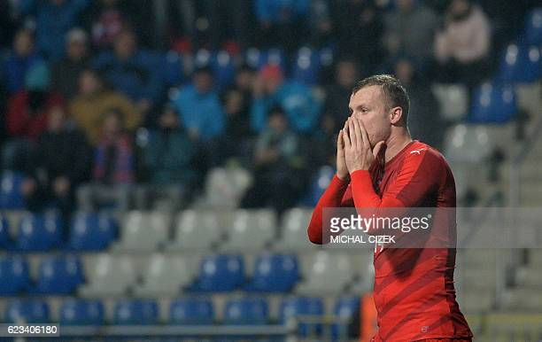Michael Krmencik of Czech Republic reacts during the friendly football match Czech Republic vs Denmark in Mlada Boleslav on November 15 2016 / AFP /...