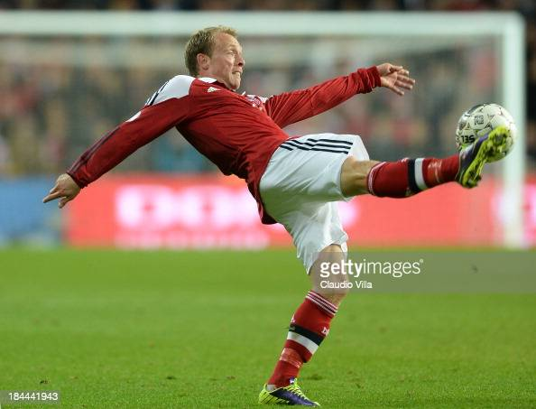 Michael Krohn Dehli of Denmark in action during the FIFA 2014 world cup qualifier between Denmark and Italy at Parken Stadium on October 11 2013 in...