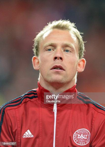 Michael Krohn Dehli of Denmark looks on prior to the FIFA 2014 world cup qualifier between Denmark and Italy at Parken Stadium on October 11 2013 in...