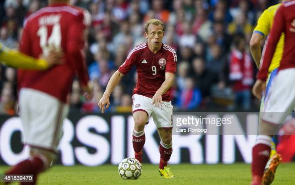 Michael KrohnDehli of Denmark controls the ball during the International friendly match between Denmark and Sweden in Parken Stadium on May 28 2014...