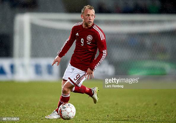 Michael KrohnDehli of Denmark controls the ball during the International Friendly match between Denmark and Unites States at NRGi Park on March 25...