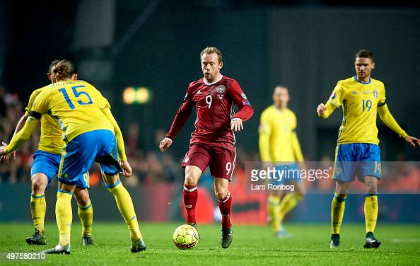 Michael KrohnDehli of Denmark controls the ball during the UEFA EURO 2016 Qualifier PlayOff Second Leg match between Denmark and Sweden at Telia...