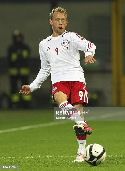 Michael KrohnDehli of Denmark in action during the during the FIFA 2014 World Cup qualifier match between Italy and Denmark at Stadio Giuseppe Meazza...