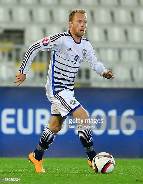 Michael KrohnDehli of Denmark in action during the Euro 2016 group I qualifying football match between Serbia and Denmark at Partizan Stadium on...