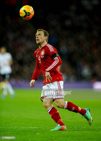 Michael KrohnDehli of Denmark in action during the International Friendly match between England and Denmark at Wembley Stadium on March 5 2014 in...