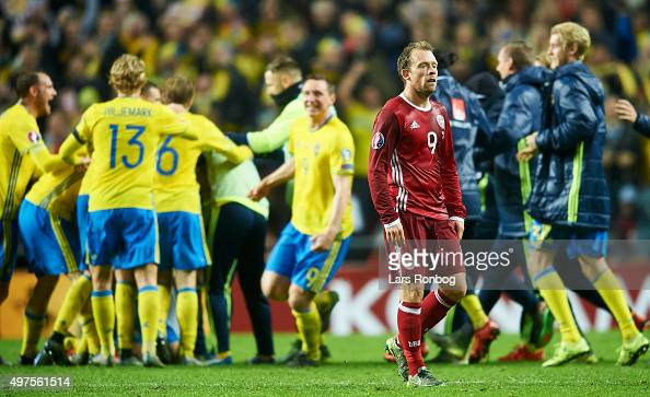 Michael KrohnDehli of Denmark looks dejected after the UEFA EURO 2016 Qualifier PlayOff Second Leg match between Denmark and Sweden at Telia Parken...