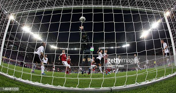 L'VIV UKRAINE JUNE 17 Michael KrohnDehli of Denmark scores their first goal past Manuel Neuer of Germany during the UEFA EURO 2012 group B match...