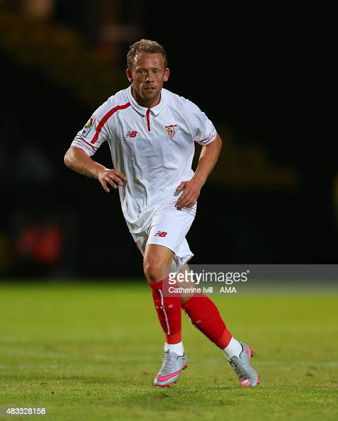 Michael KrohnDehli of Sevilla during the preseason friendly between Watford and Seville at Vicarage Road on July 31 2015 in Watford England