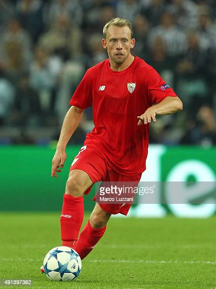 Michael KrohnDehli of Sevilla FC in action during the UEFA Champions League group E match between Juventus and Sevilla FC at Juventus Arena on...