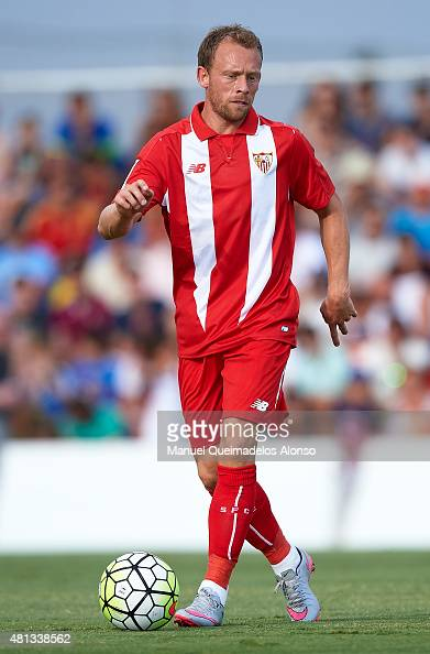Michael KrohnDehli of Sevilla in action during a Pre Season Friendly match between Sevilla and Alcorcon at Pinatar Arena Stadium on July 19 2015 in...