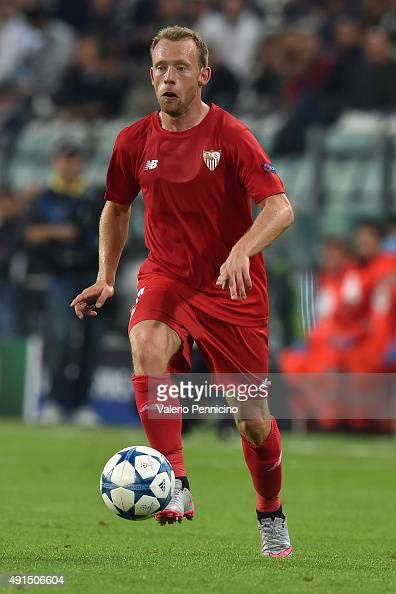 Michael KrohnDehli of Sevilla in action during the UEFA Champions League group E match between Juventus and Sevilla FC on September 30 2015 in Turin...