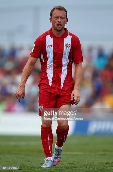 Michael KrohnDehli of Sevilla looks on during a Pre Season Friendly match between Sevilla and Alcorcon at Pinatar Arena Stadium on July 19 2015 in...