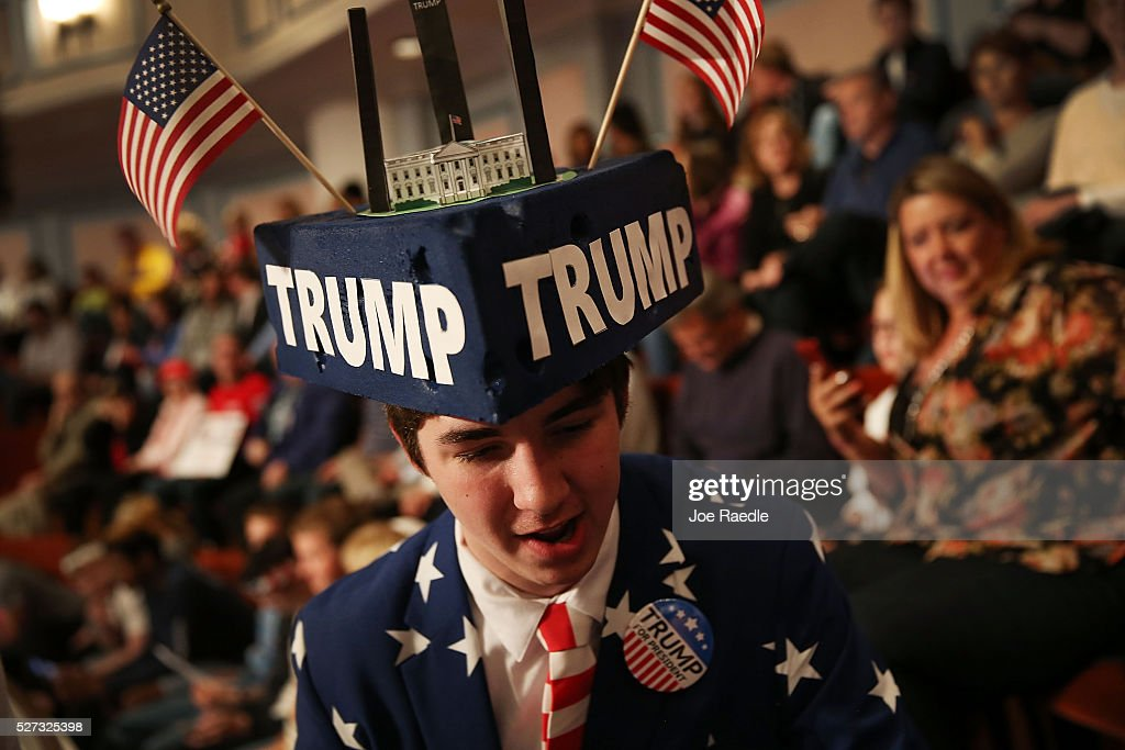 Michael Kuzma shows his support for Republican presidential candidate Donald Trump during his campaign stop at the Palladium at the Center for the Performing Arts on May 2, 2016 in Carmel, Indiana. Trump continues to campaign leading up to the state of Indiana's primary day on Tuesday.