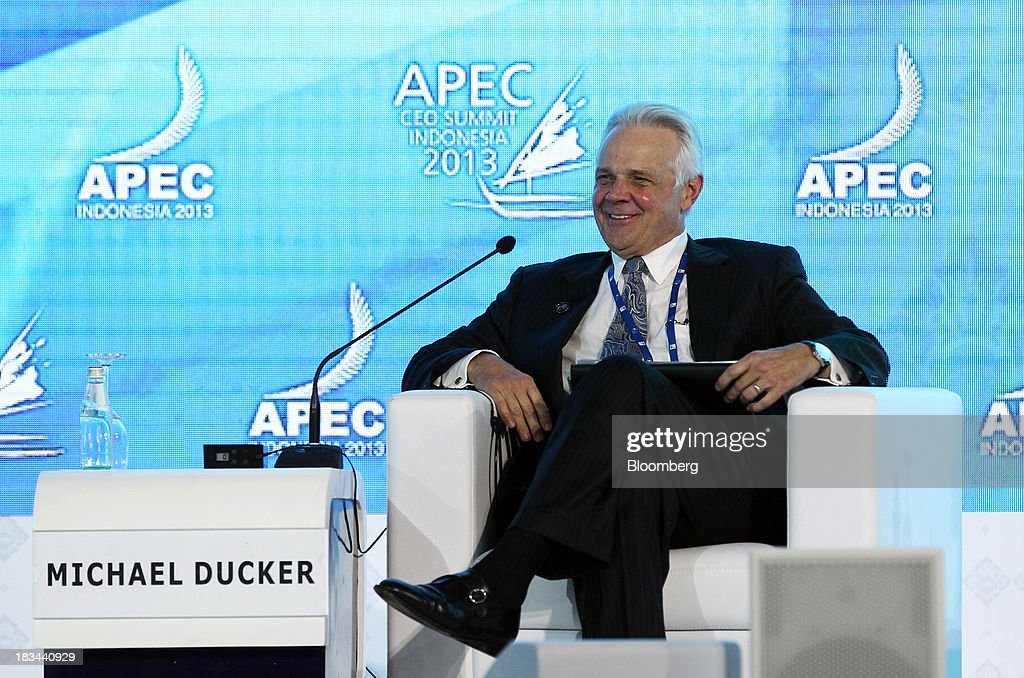 Michael L. Ducker, president of Federal Express International, smiles during a panel discussion at the Asia-Pacific Economic Cooperation (APEC) CEO Summit in Nusa Dua, Bali, Indonesia, on Sunday, Oct. 6, 2013. Global growth will probably be slower and less balanced than desired, ministers from the APEC member economies said as they agreed to refrain from raising new barriers to trade and investment. Photographer: SeongJoon Cho/Bloomberg via Getty Images