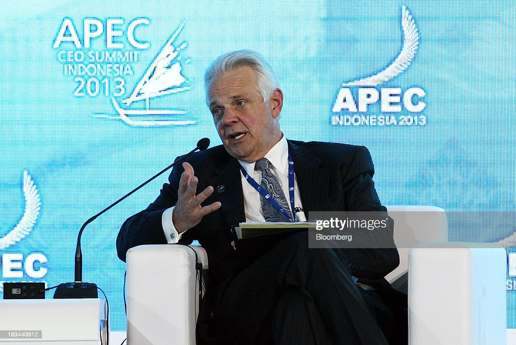 Michael L. Ducker, president of Federal Express International, speaks during a panel discussion at the Asia-Pacific Economic Cooperation (APEC) CEO Summit in Nusa Dua, Bali, Indonesia, on Sunday, Oct. 6, 2013. Global growth will probably be slower and less balanced than desired, ministers from the APEC member economies said as they agreed to refrain from raising new barriers to trade and investment. Photographer: SeongJoon Cho/Bloomberg via Getty Images