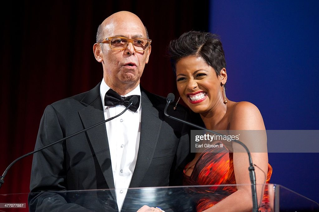 Michael L. Lomax, CEO of UNCF, and Tamron Hall share a laugh at the 'UNCF Lighting The Way To Better Futures' 2014 Dinner at New York Hilton on March 7, 2014 in New York City.