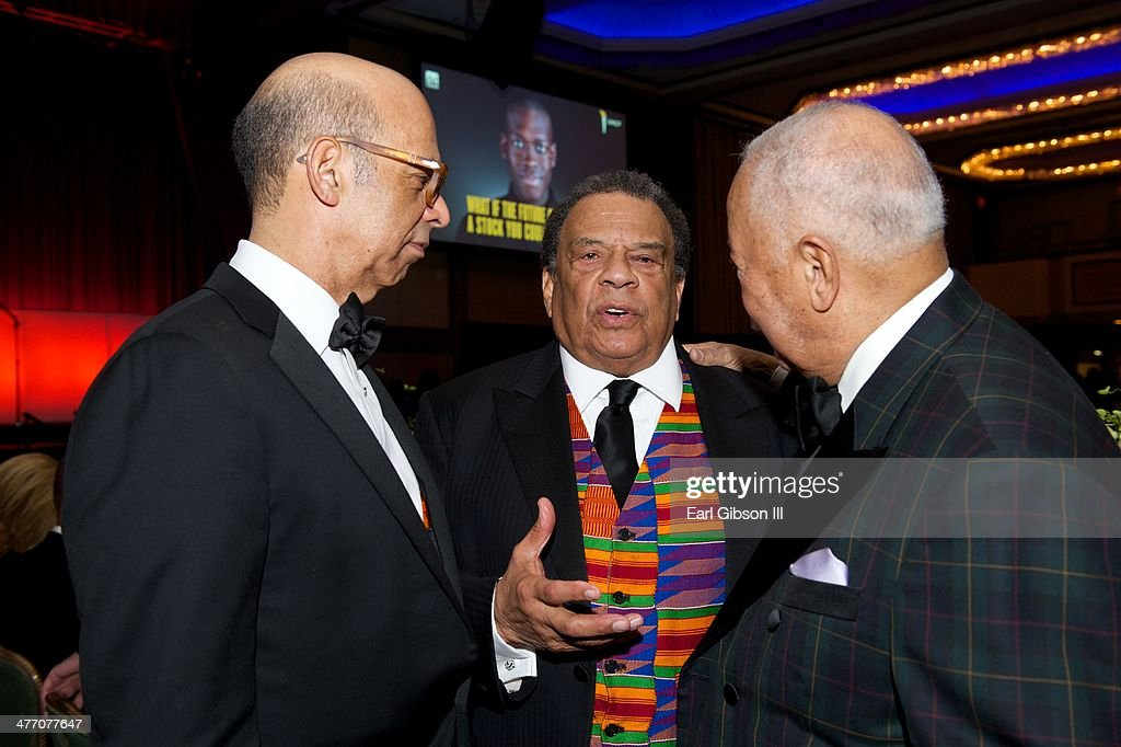 Michael L. Lomax, CEO of UNCF, <a gi-track='captionPersonalityLinkClicked' href=/galleries/search?phrase=Andrew+Young+-+Politician&family=editorial&specificpeople=13781909 ng-click='$event.stopPropagation()'>Andrew Young</a> and <a gi-track='captionPersonalityLinkClicked' href=/galleries/search?phrase=David+Dinkins&family=editorial&specificpeople=171317 ng-click='$event.stopPropagation()'>David Dinkins</a> pose for a photo at the 'UNCF Lighting The Way To Better Futures' 2014 Dinner at New York Hilton on March 7, 2014 in New York City.