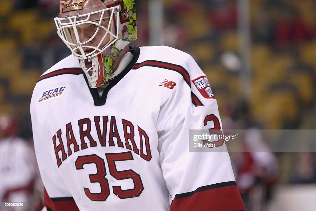 Michael Lackey #35 of Harvard University reacts during the third period of the Beanpot Tournament consolation game against Northeastern University at TD Garden on February 8, 2016 in Boston, Massachusetts.