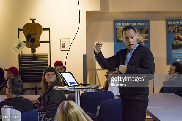 Michael Landry lead detection scientist of the Laser Interferometer GravitationalWave Observatory speaks during a public tour of the Laser...