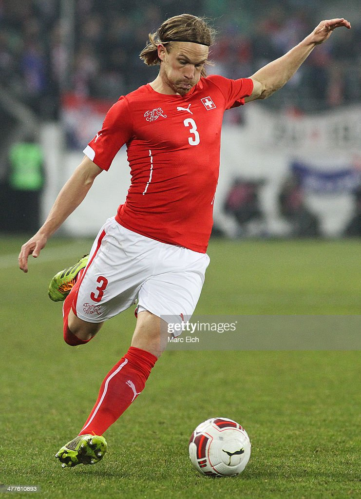 Michael Lang of Switzerland in action during the international friendly match between Switzerland and Croatia at the AFG Arena on March 5, 2014 in St Gallen, Switzerland.
