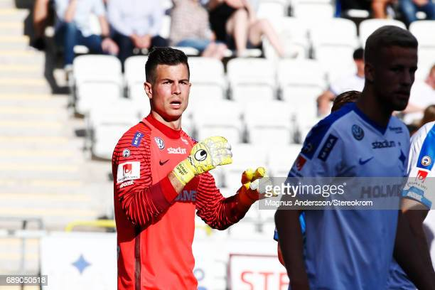 Michael Langer goalkeeper of IFK Norrkoping during the Allsvenskan match between IFK Norrkoping and Halmstad BK at Ostgotaporten on May 27 2017 in...