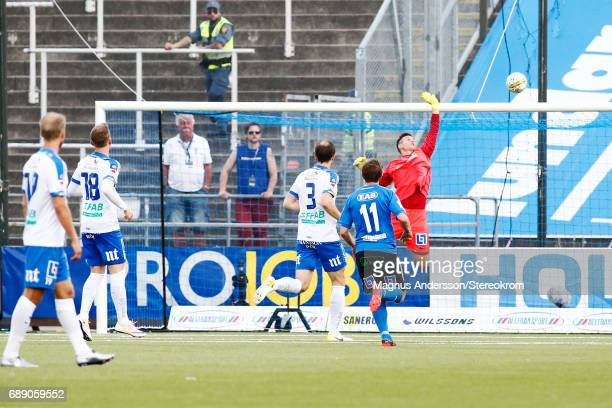 Michael Langer goalkeeper of IFK Norrkoping makes a save during the Allsvenskan match between IFK Norrkoping and Halmstad BK at Ostgotaporten on May...
