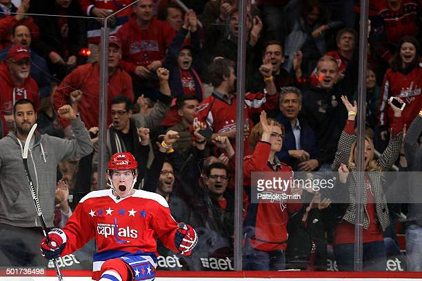 Michael Latta of the Washington Capitals celebrates a first period goal against the Ottawa Senators at Verizon Center on December 16 2015 in...