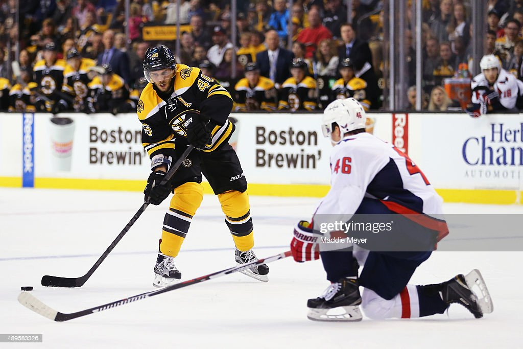 Michael Latta #46 of the Washington Capitals defends David Krejci #46 of the Boston Bruins during the first period at TD Garden on September 22, 2015 in Boston, Massachusetts.