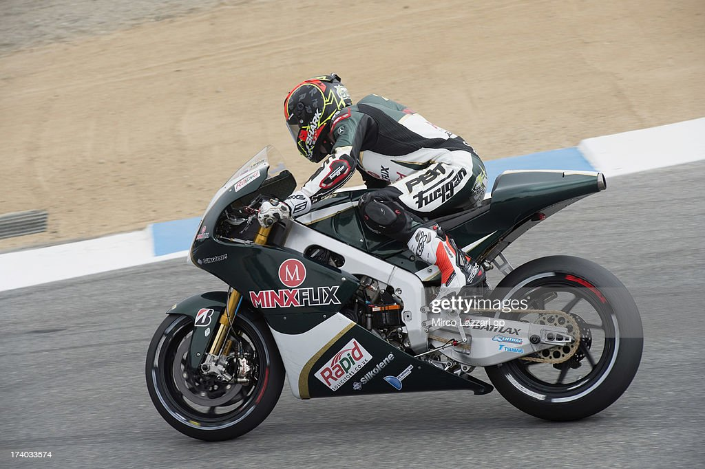 Michael Laverty of Great Britain and Paul Bird Motorsport rounds the bend during the MotoGp Red Bull U.S. Grand Prix - Free Practice at Mazda Raceway Laguna Seca on July 19, 2013 in Monterey, California.