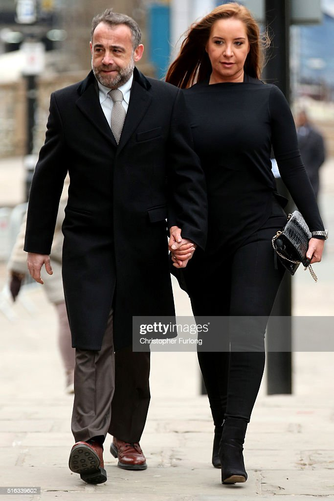 Michael Le Vell and his partner Louise Gibbons arrive for the funeral of Coronation Street scriptwriter Tony Warren at Manchester Cathedral on March 18, 2016 in Manchester, United Kingdom. Soap royalty past and present attended the funeral of Tony Warren who created the famous Granada Television show Coronation Street when he was 24.
