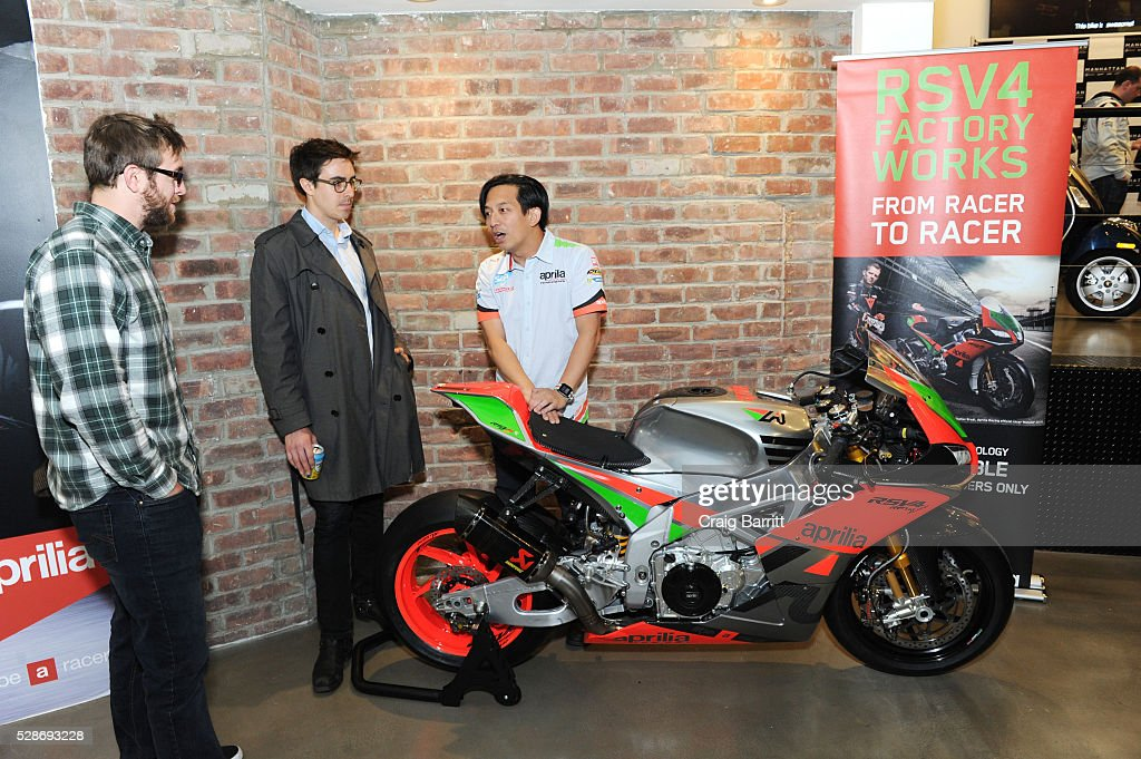 Michael Lee (R) attends the New York debut of the Aprilia RSV4 World SBK RF Misano & Moto Guzzi MGX-21 Flying Fortress at Vespa Manhattan Flagship on May 6, 2016 in New York City.
