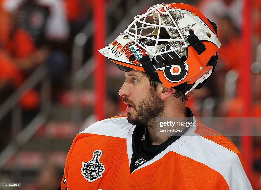 Michael Leighton #49 of the Philadelphia Flyers looks on during a stoppage in play against the Chicago Blackhawks in Game Three of the 2010 NHL Stanley Cup Final at the Wachovia Center on June 2, 2010 in Philadelphia, Pennsylvania.