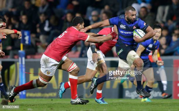 Michael Leitch of Japan and Leva Fifita of Tonga during the international match between Japan and Tonga at Stade Ernest Wallon on November 18 2017 in...