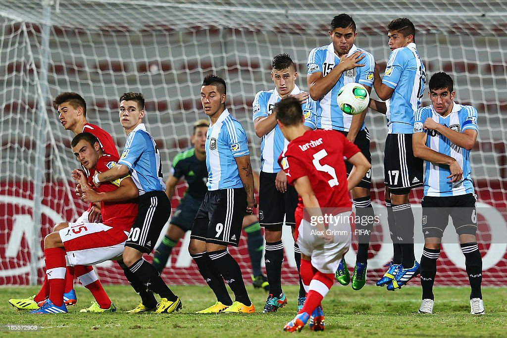 Michael Lercher of Austria tries to score with a freekick during the FIFA U-17 World Cup UAE 2013 Group E match between Argentina and Austria at Al Rashid Stadium on October 22, 2013 in Dubai, United Arab Emirates.