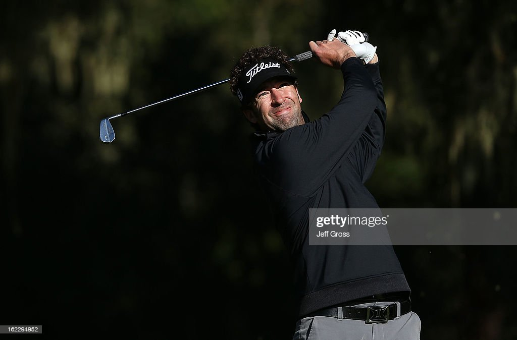 Michael Letzig hits a shot during the third round of the AT&T Pebble Beach National Pro-Am at Monterey Peninsula Country Club on February 9, 2013 in Pebble Beach, California.