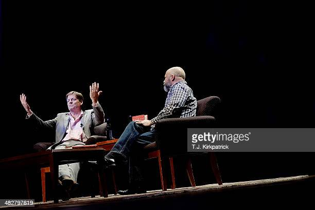 Michael Lewis left a financial journalist and author participates in a discussion with Andrew Sullivan editor of The Dish in the Newsmaker Series of...
