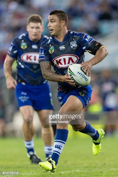 Michael Lichaa of the Bulldogs during the round nine NRL match between the Canterbury Bulldogs and the Canberra Raiders at ANZ Stadium on April 29...